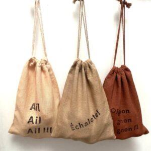 3 sacs en lin pour stocker de l'ail, de l'oignon et de l'échalotte